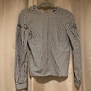 TopShop Black and White Gingham Blouse